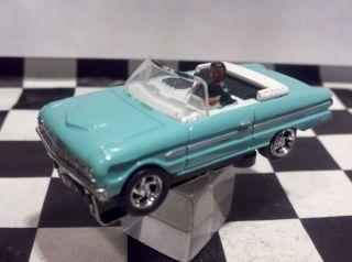 63 Ford Falcon Convertible Teal T jet Ho Scale Slot Car Chassis Cool
