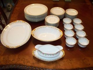 Antique Limoges Martial Redon Dinnerware Set 43 Pieces Extras Pink
