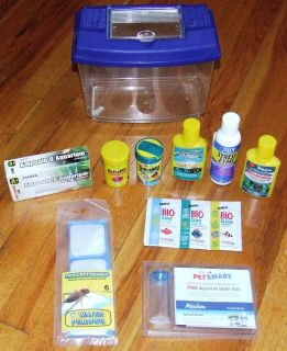 Lot of Aquarium Fish Supplies Food Water Treatment Light Bulb and More