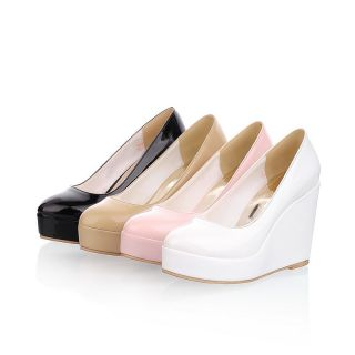 Fashion Womens PU Leather Platform Flat Wedge Heel Pumps Shoes AU All