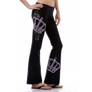 Pink Crown Rhinestone Tattoo Print Casual Yoga Pants S Size