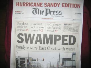 Hurricane Sandy Special Edition of the Atlantic City Press Tuesday 10