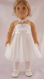 Doll Clothes Fits American Girl Ivory Satin Pleated Fancy Dress