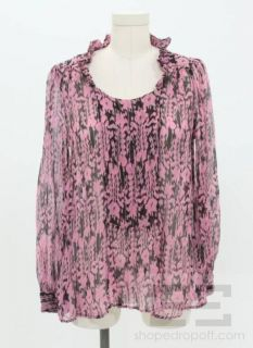 Etoile Isabel Marant Pink Black Silk Print Blouse Size 1