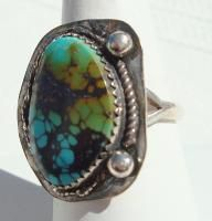 Silver Turquoise Artisan Signed Handmade Ring Size 7 3 4 V120
