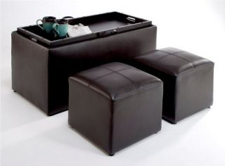 New Faux Leather Storage Bench w 2 Side Ottomans Espresso Coffee Table