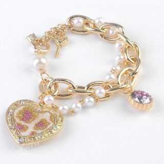 Gold Tone Crystal Faux Pearl Bling Heart Bead Chain Link Bracelet