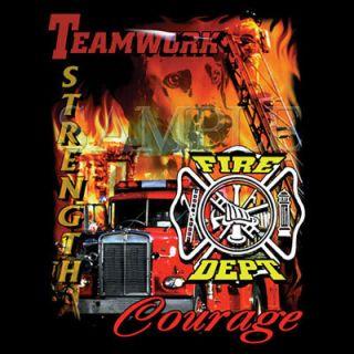 Firefighter Fire Department Teamwork Strength Courage Logo Black T