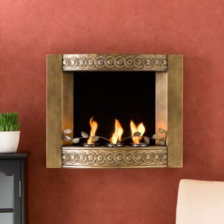 Antique Gold WALL MOUNT FIREPLACE Gel Fuel Heater Indoor Outdoor Patio