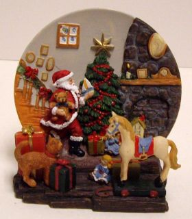 2pc Santa Fireplace Plate Handcrafted 1997 Christmas Mantel Collectors