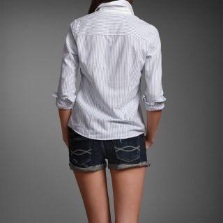 Abercrombie Fitch Women Blue Stripe Button Down Shirt Top XS NWT