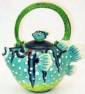 Puffer Fish Teapot Icing on The Cake Jeannette McCall Blue Sky