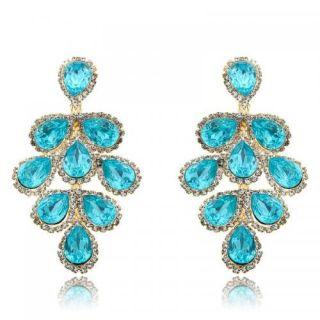 18K Gold GP ARINNA Dazzling Blue Drop Fashion Earrings Swarovski Clear