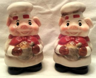 Fat Pig Cafe French Chef Salt Pepper Shaker Italian Bistro Ceramic