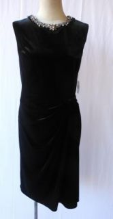 Teri Jon Black Velvet Rhinestone Beaded Neck Cocktail Sheath Dress 14
