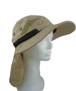 FISHING SUMMER HAT WITH LONG NECK FLAP 3 BRIM KHAKI (Lot of 10 Hats