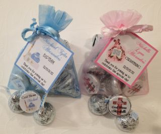 Personalized Christening Baptism Favor Kits Organza Bags Kiss Labels