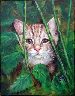 Feral Kitty Acrylic Painting Judi Cain Vibrant Tiger Tabby Kitten Cat