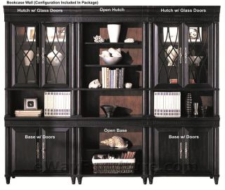 American Federal Black Wood Credenza and Hutch Home Office Computer