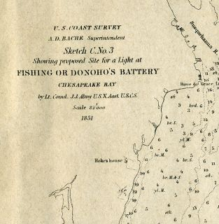 Fishing or Donohos Battery Chesapeake Bay 1851 Survey Map Site for