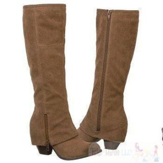 New Fergalicious Fergie L Ryder Taupe Faux Suede Boots Tall Knee High