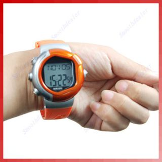 Monitor Stop Watch Calorie Counter Fitness Exercise Orange 009