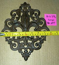 Cast Iron Fleur de Lis Wall Plaque Art Deco French Country New Orleans