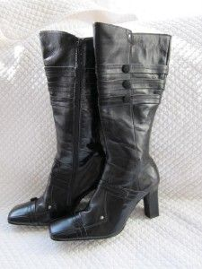 Henry Ferrera High Heel Black Leather Zip Campus Boot Wrap Around