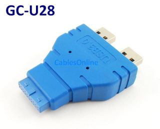 USB 3 0 Motherboard 20 Pin Header Female to 2X USB A Type Male Adapter