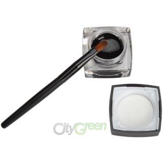 Waterproof Black Eye Liner Eyeliner Shadow Gel Makeup Cosmetic + Brush