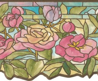 Wallpaper Border Victorian Floral Stained Glass Pastel Pink Blue Green