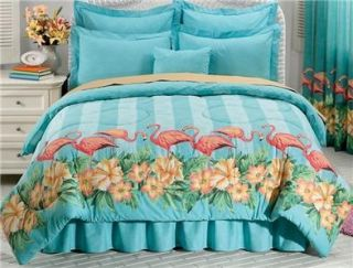 PC Pink Flamingo Tropical Style California King Comforter Set Free
