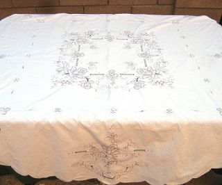 vintage embroidered floral rose tablecloth table furnishing machine