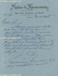 Florenz Flo Ziegfeld Jr Autograph Letter Signed