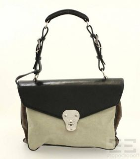 Greige Brown Black Lambskin Leather Shoulder Flap Bag