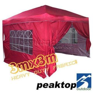 Peaktop 10x10 EZ Pop Up Party Tent Canopy Gazebo Red 4 Walls With Free