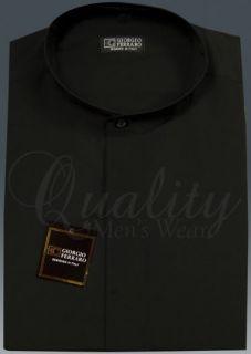 Black 15 15 5 32 33 Banded Collar Mens Dress Shirt