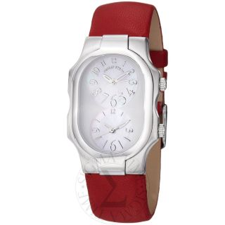 Philip Stein Womens Signature Red Leather Strap Quartz Watch 1 F Fsmop