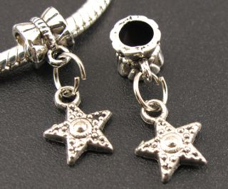 Tibetan Silver Starfish Dangle European Beads Fit Charms Bracelet f295
