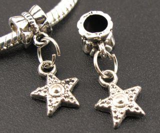 Tibetan Silver Starfish Dangle European Beads Fit Charms Bracelet f295