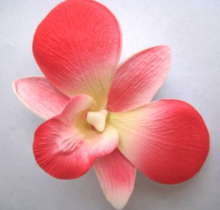 Bridal Wedding Party Orchid Foam Flower Hair Clip Coral Pink