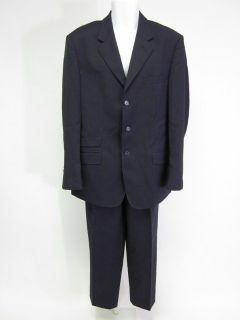 Fabriano Mens Navy Blue Pinstripe Wool 3 Button Blazer Pants Suit Sz