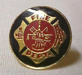 New Maltese Cross Fire Department Fireman Lapel Cap Pin