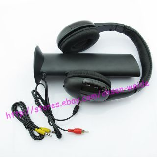 Wireless Headphone Earphone Black for MP3 MP4 PC TV CD FM Radio