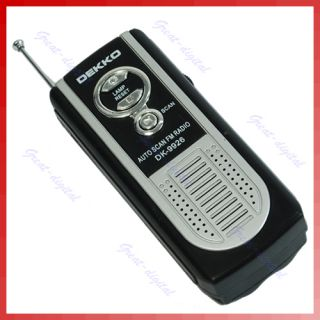 Portable Mini Belt Clip Auto Scan FM Radio Receiver with Flashlight