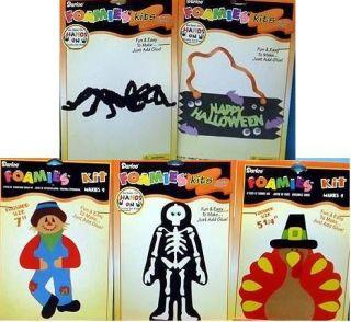 lot of 5 foam craft kits halloween spider turkey skeleton scarecrow
