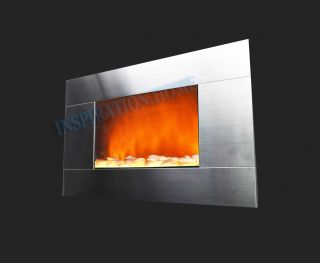 Wall Mounted Electric Fireplace Control Remote Heater Adjustable 510GP