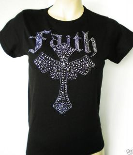 Rhinestone Faith Cross T Shirt Women XS M XL 3XL New