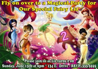 Tinkerbell Fairies Birthday Party Invitations First