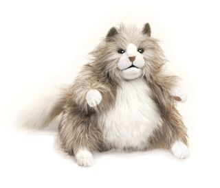 Folkmanis Puppets Fluffy Cat Plush Hand Puppet New